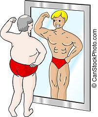 músculo, hombre gordo