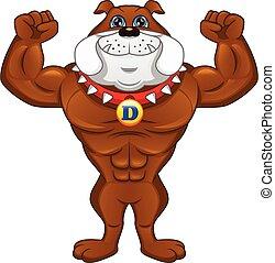músculo, inglés, caricatura, bulldog