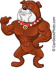 músculo, pulgar, caricatura, inglés, arriba, bulldog