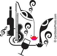 música, bebida, fiesta