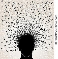 música, cabeza, diseño, notas, afuera