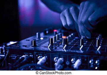 música, club noche, dj