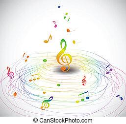 Música colorida con notas voladoras. Vector