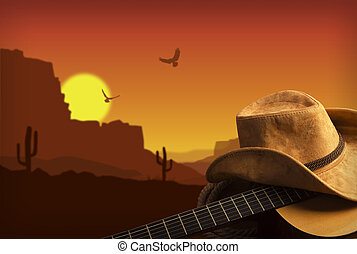 Música country americana con guitarra y sombrero de vaquero