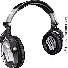 música, grande, auriculares, fresco