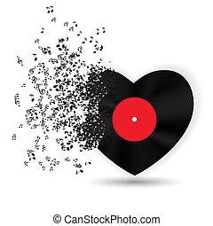 música, notas., vector, tarjeta, valentines, corazón, día, feliz, ilustración