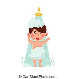 mañana, ilustración, carácter, ducha, toma, vector, niño
