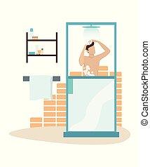 mañana, ilustración del hombre, vector, ducha, toma