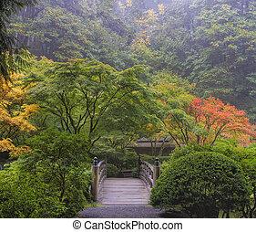 Mañana nublada en el jardín japonés