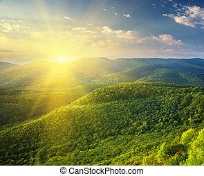 Mañana soleada en la montaña.