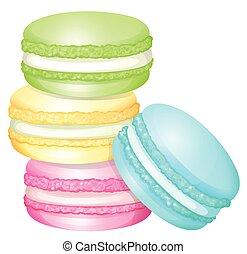 macaron, pila, colorido