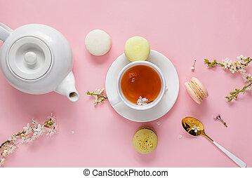 macarons, fondo., té, rosa, flor