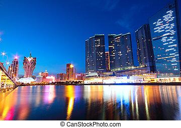 Macau Cityscape de puente y rascacielos Macao, Asia.