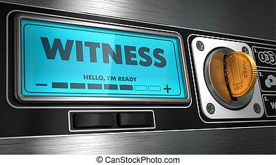 machine., venta, exhibición, testigo