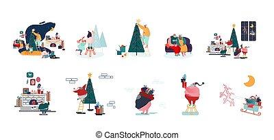macho, caracteres, aparejar, adornar, navidad, vacaciones, feliz, celebración, año, árbol abeto, hembra, conjunto, familia , nuevo