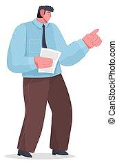 macho, imagen, alguien., caricatura, trabajador, done., puntos, plano, viragos, dedo, oficina, carácter, o, trabajo, injusto