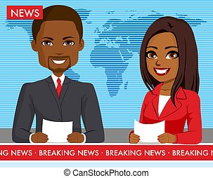 macho, negro, newscasters, hembra