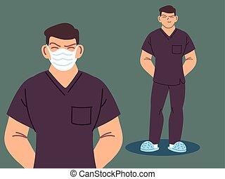 macho, utilizar, enfermera, máscara cara