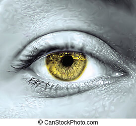Macro de ojos femeninos amarillos. Vector
