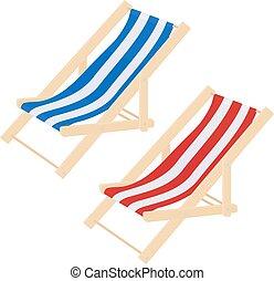 Madera a rayas planas de playa de lecho de sombrerero aislada en blanco. Ilustración de vectores