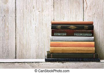 madera, concepto, viejo, conocimiento, estante, espinas dorsales, encuadernación, textura, pila, plano de fondo, libro blanco, vacío