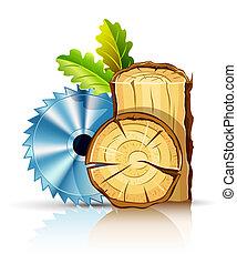 Madera de madera con sierra circular