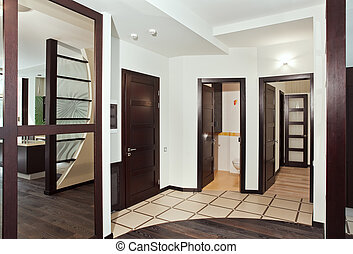 madera dura, muchos, moderno, puertas, interior, vestíbulo