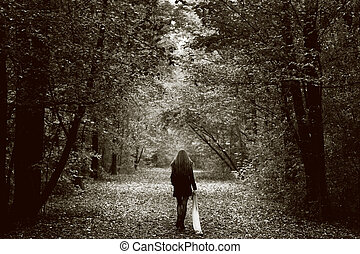 madera, solo, mujer, camino, triste