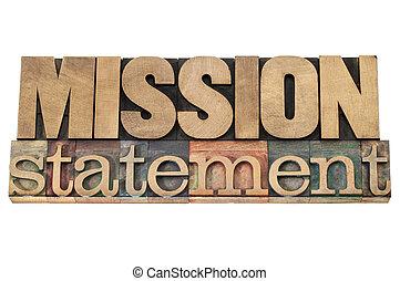 madera, tipo, misión, declaración