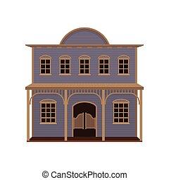 madera, vector, grande, balanceo, casa, viejo, occidental, puertas, oeste, saloon., plano, porch., icono, two-storey, salvaje, púrpura
