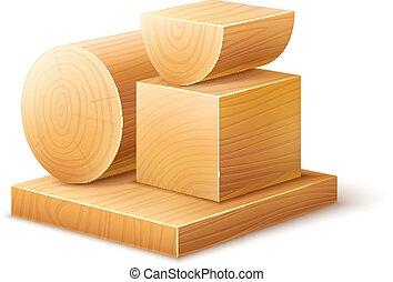 Maderas de madera bloques de piezas de trabajo de varias formas