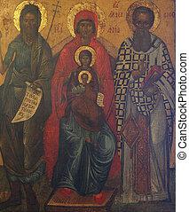 madonna, niño, santos, jesús