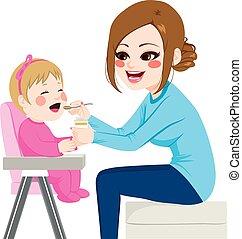 Madre alimentando al bebé
