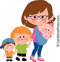 Madre caminando con sus hijos y su bebé en un cabestrillo. Ilustración de vectores.