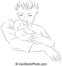 Madre con un bebé dormido