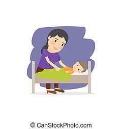 Madre cuida al niño