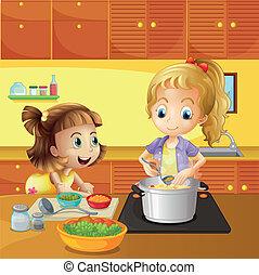 Madre e hija cocinando juntos
