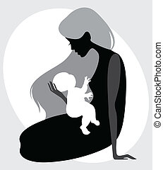 Madre e hija silueta