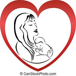 Madre e hijo logo vector