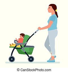 Madre feliz con un cochecito de bebé, ilustración vectorial