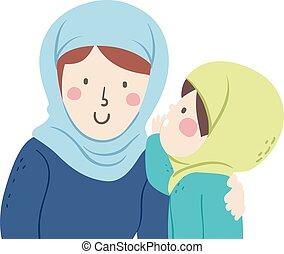madre, niño, musulmán, voz, nivel, susurro, niña