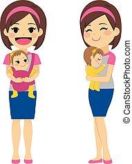Madre sosteniendo al bebé