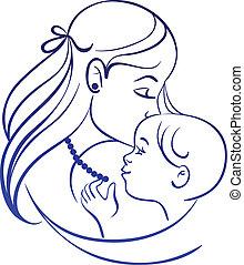 Madre y bebé. Silueta lineal de madre y su hijo