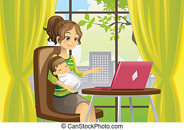 Madre y bebé usando portátil