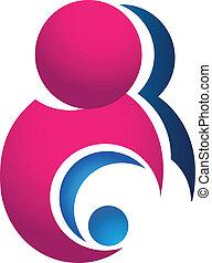 Madre y logotipo de bebé