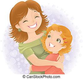 madres, illustration., saludo, día