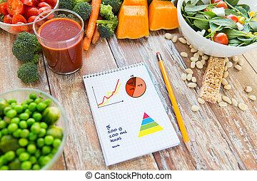 maduro, vegetales, arriba, cuaderno, cierre, tabla