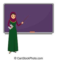 Maestra musulmana parada frente a una estudiante de pizarrón en clase en la escuela, la universidad o la universidad. Diseño plano arabiano musulmana personaje femenino en ropa tradicional.
