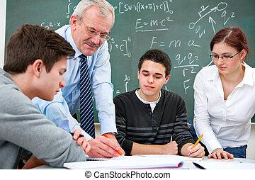 maestro, alto, estudiantes