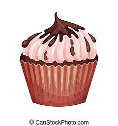 Magdalena de chocolate con crema rosa. Ilustración de vectores en un fondo blanco.
